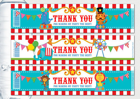 animal circus bottle water labelswrappersbaby shower birthday party decorations kids