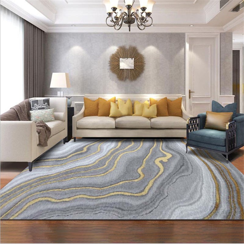AOVOLL Nordic Modern Abstract Gray Gold Curve Pattern Crystal Velvet Carpet Carpets For The Modern Living Room Bedroom Area Rugs