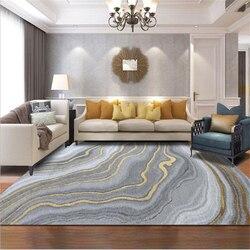 Aovoll nórdico moderno abstrato cinza curva de ouro padrão cristal veludo tapete tapetes para o quarto sala estar moderna área