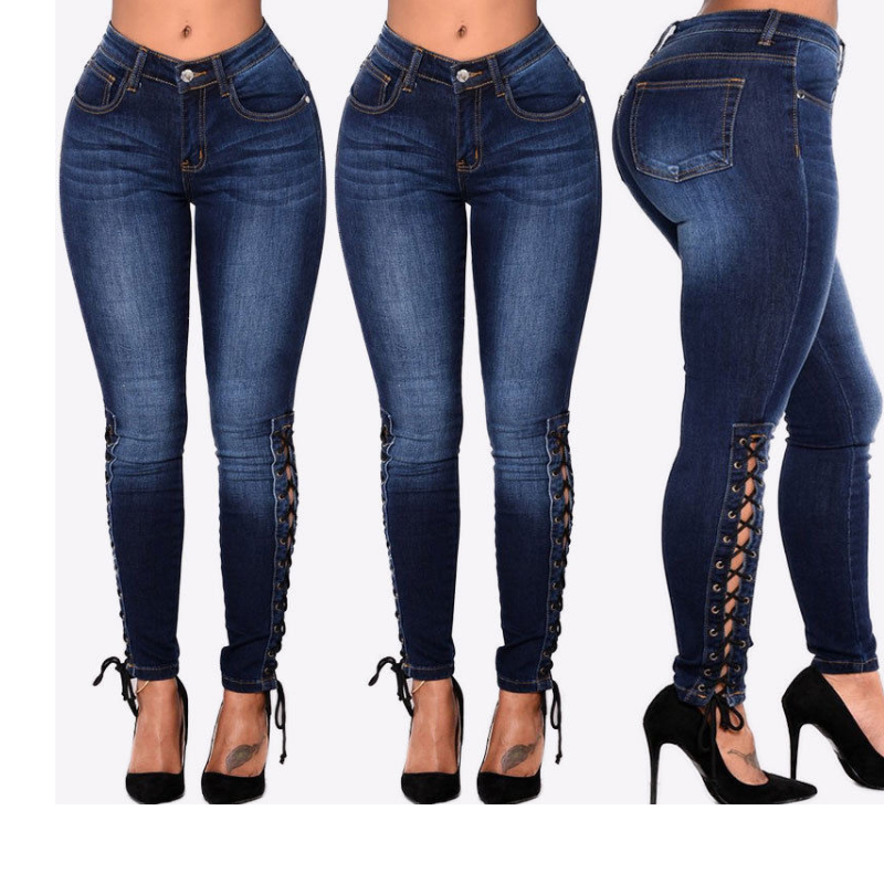 Woman Shaping Hip String Jeans Big Hip Denim Lace Up Pants Pencil Curvy Jeans Skinny Stretch Jeans Slim Jegging Highwaisted Pant denim