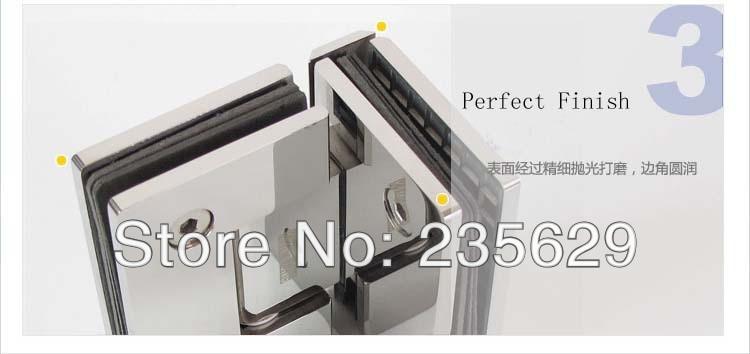 De, 304 aço inoxidável dobradiça do chuveiro 90 grau, Braçadeira de vidro, Espelho terminou, Fácil instalação, Em - 4