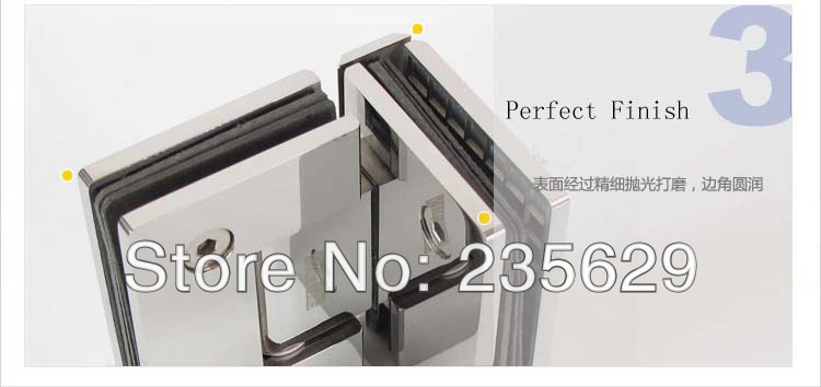 Free Shipping, 304 Stainless Steel 90 degree shower hinge,glass clamp,shower clamp, Mirror finished, Easy installation,durable - 4