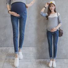 1204# Elastic Waist Belly Denim Maternity Jeans Suit for Four Season Wear Pencil Trousers Clothes for Pregnant Women Pregnancy(China)