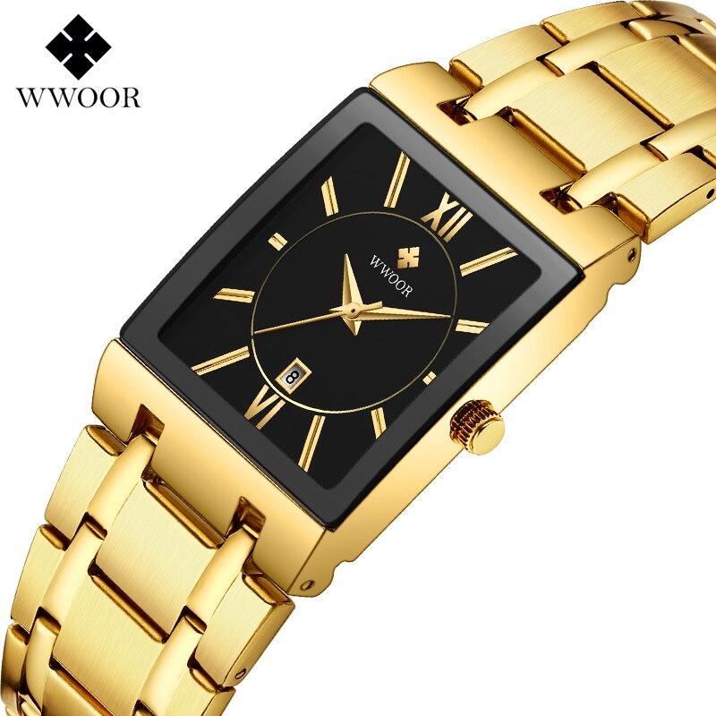 WWOOR Brand Luxury Mens Sport Wrist Watch Stainless Steel Simple Calendar Clock Watch Men 30M Waterproof