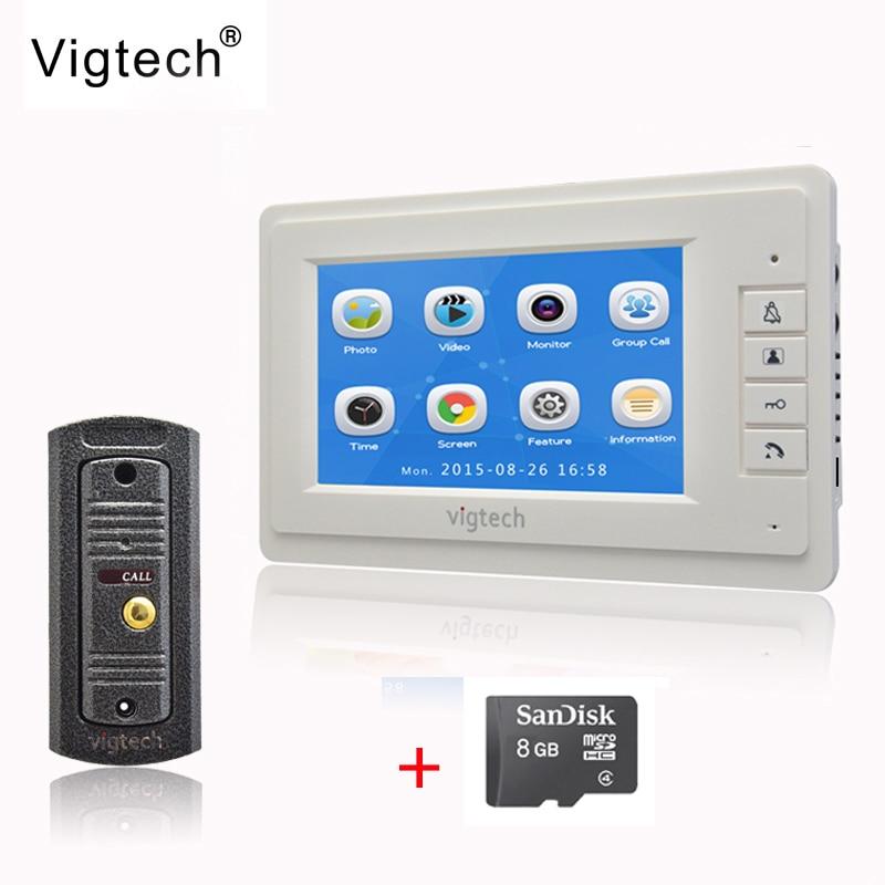 Vigtech 7 ''ЖК-дисплей Цвет Экран видео-телефон двери запись домофон металлическая основа HD Mini Камера 8 ГБ TF карты Бесплатная доставка