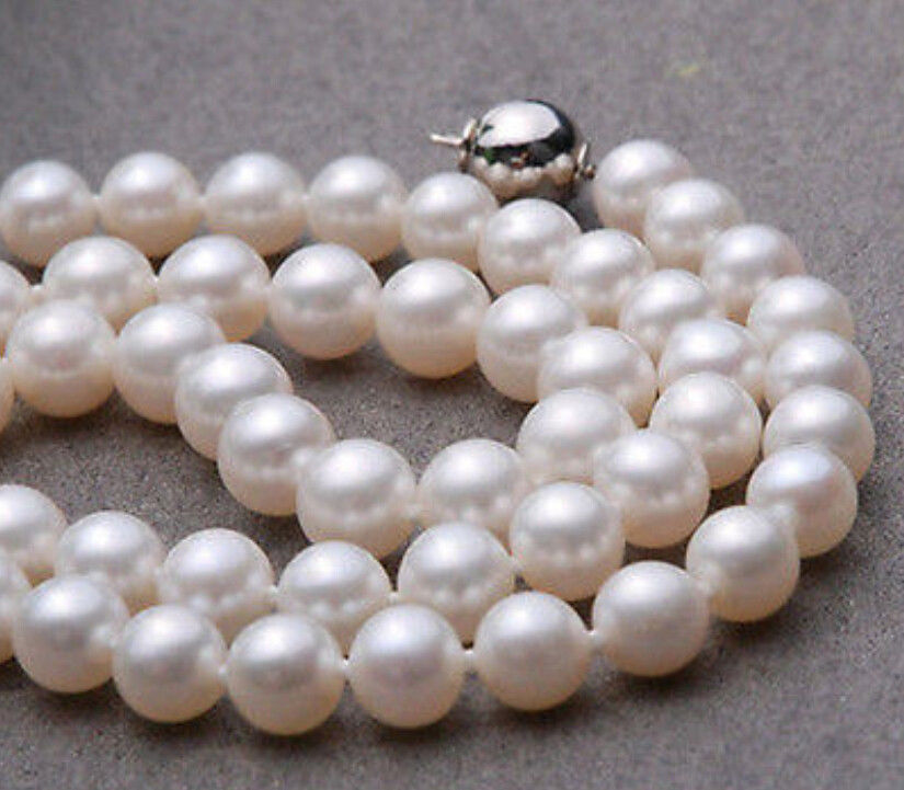 FREE SHIPPING HOT sell new Style >>>>9-10mm AAA+ White Seawater Cultured Round Pearl Necklace 18