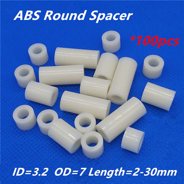 100pcs M3 White Nylon ABS Round Hollow Non-Threaded Standoff Spacer PCB Board Screw Bolt Long Washer ID=3.2 OD=7