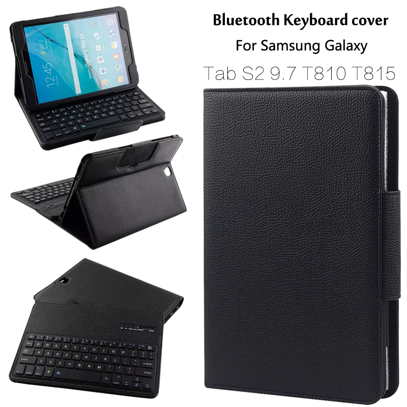For Samsung GALAXY Tab S2 9.7 T810 T815 T819 Removable Wireless Bluetooth Keyboard Portfolio Folio PU Leather Case Cover + Gift removable wireless bluetooth russian hebrew spanish keyboard stand pu leather case for samsung galaxy tab a 9 7 t555 t551 t550