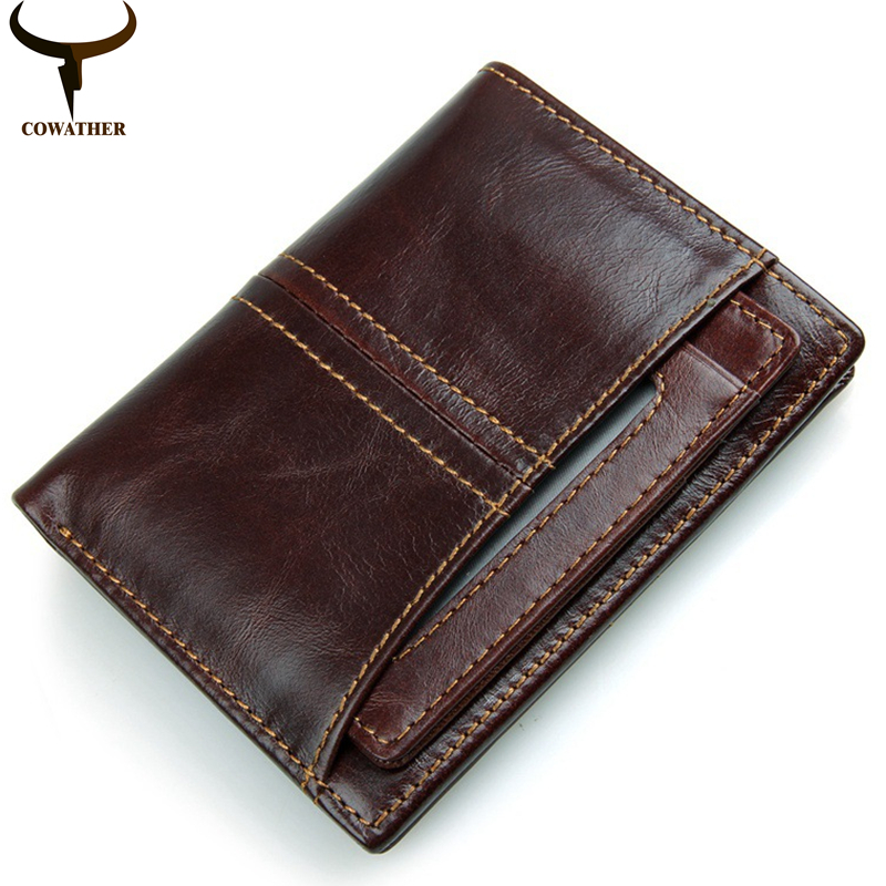COWATHER top quality cow genuine leather mens wallet for men 2016 new design vertical and cross coffee purse R-8107free shipping cowather new 100