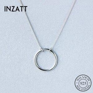 INZATT Minimalist Real 925 Sterling Silver Geometric Round Pendant Necklace 925 Sterling Silver FINE Jewelry For Women Gift