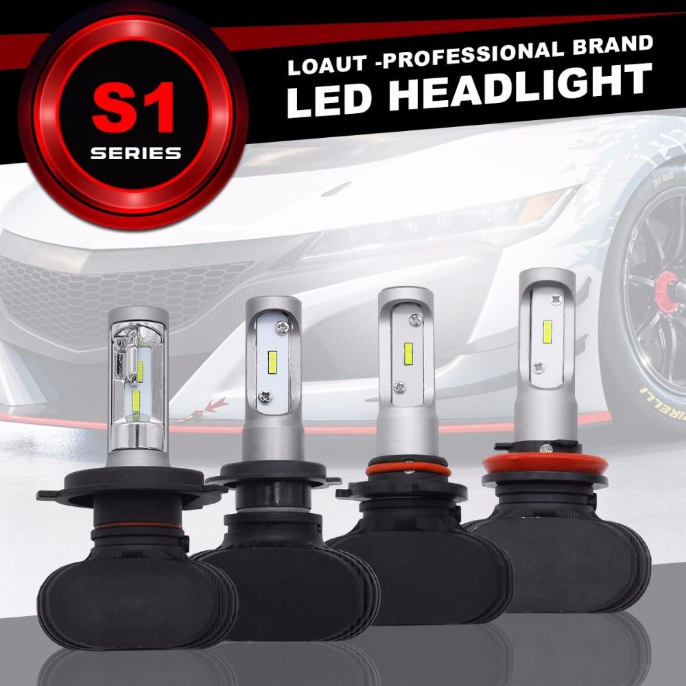 S1 CSP Led Headlights H1/H3/H4/H7/H11/880/9005/9006 LED Car Headlight Bulb Hi-Lo Beam 50W 8000LM 6500K Auto Led Headlamp 12v 24v 2 pcs led car headlight bulb hi lo beam cob headlights 72w 8000lm 6500k auto headlamp 12v 24v fog light work head lamp h4 h7 h11