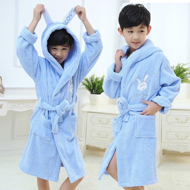 Cotton Boys Bathrobe Cartoon Peignoir Enfant Gown Hooded Robes Children's Bathrobe Kids Winter White Blue Home Wear Soft Pajamas