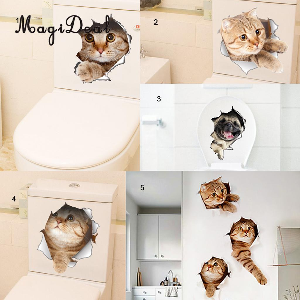 MagiDeal 3D Vinyl Wall Decals Creative Carton Vivid Lovely Wall Stickers Cat for Bathroom Kitchen Toilet