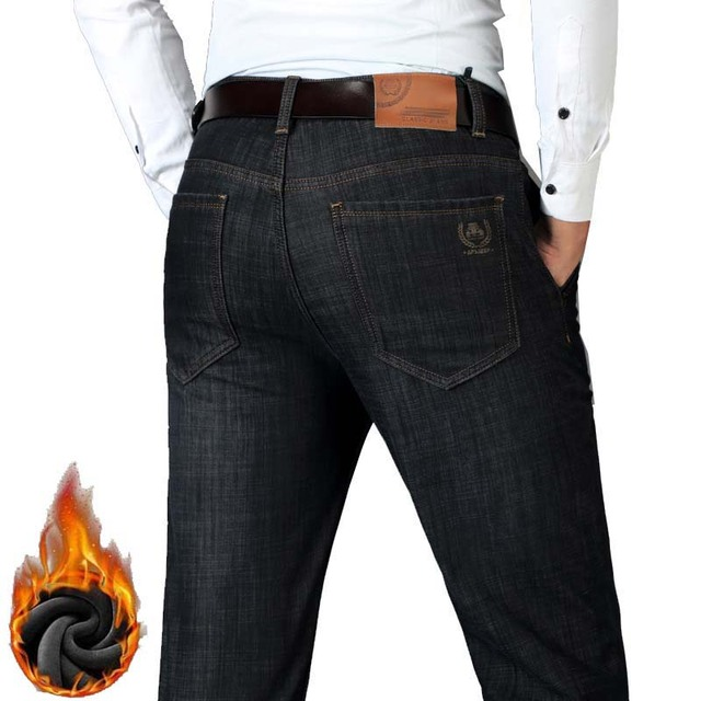Autumn Winter Casual Denim Jeans Mens Pants Cotton Warm Fleece Jeans Straight Stretch Trousers Black Blue Plus Size 42