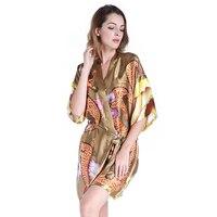 2017 New Green Chinese Women Satin Robe Gown Sexy Short Kimono Bathrobe Novelty Dragon Negligee Casual