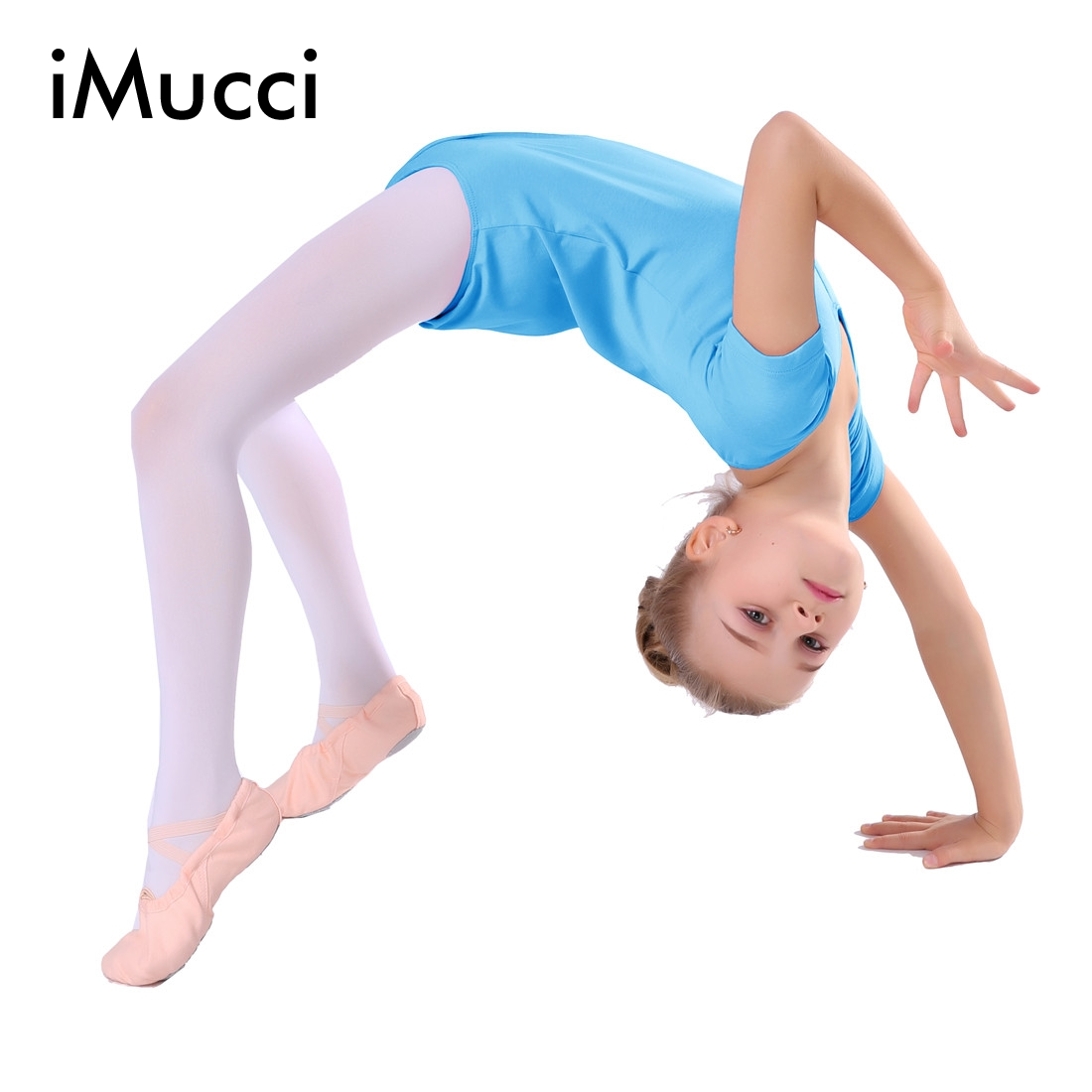 iMucci Short Sleeve Cotton Girl Ballet Unitard 100-150cm Gymnastic Leotards Blue Pink Rose Kids Ballerina Dancewear Gril Gift