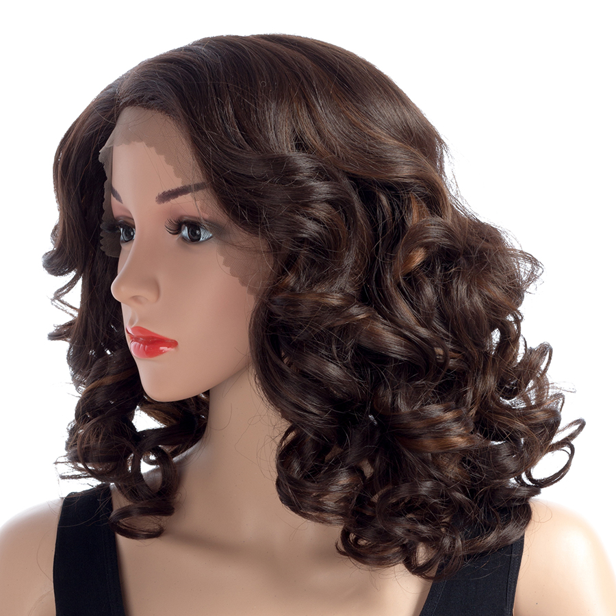 Adaptable Aigemei Lace Front Long Curly Hair Synthetic Heat Resistant Fiber Women's Full Wigs Punctual Timing