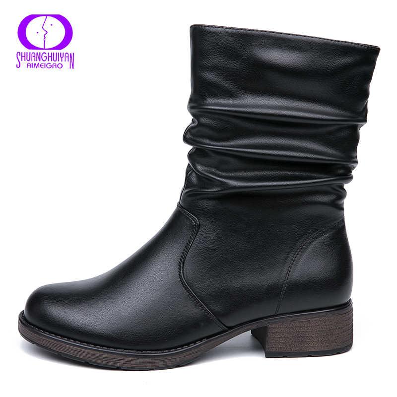 AIMEIGAO คุณภาพสูงข้อเท้าแบนรองเท้าผู้หญิง Retro สไตล์สั้นรองเท้าบูทอุ่นผู้หญิงรองเท้าหนังนุ่มรองเท้า Booties