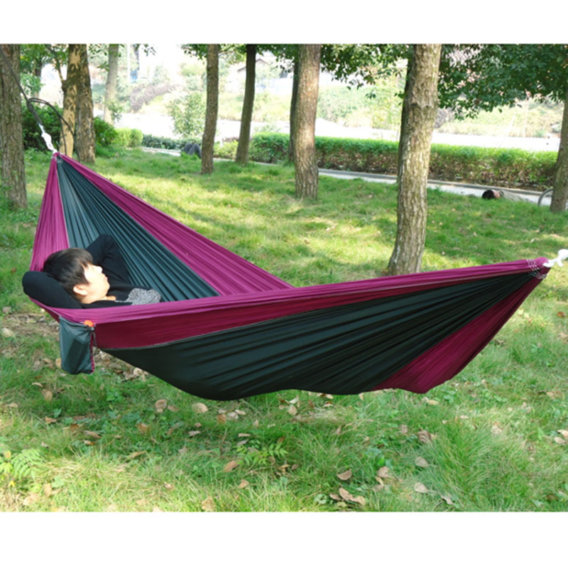 Portable Outdoor Traveling Camping Parachute Nylon Fabric Hammock For Two Person 8 Colors E2shopping thicken canvas single camping hammock outdoors durable breathable 280x80cm hammocks like parachute for traveling bushwalking