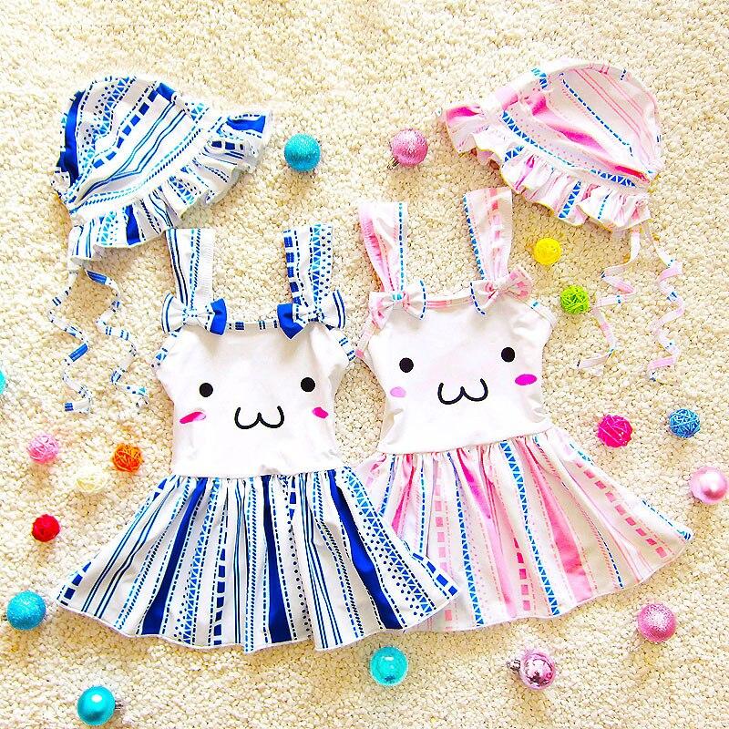 Cute Dress Tyle Girls One Piece Swimsuit Baby Kids Swimwear W/Cap Striped Children Swimming Beach Bathing Suit 2018 CO