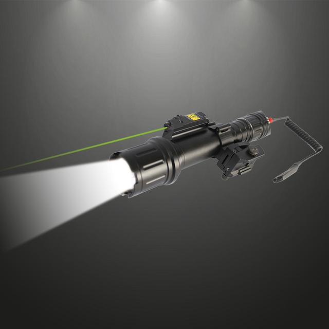 Laserspeed Rifle Gun Flashlight Tactical AR15 AK47 500Lumen Weapon Light Military + Green Laser Sight Scope With Picatinny Mount