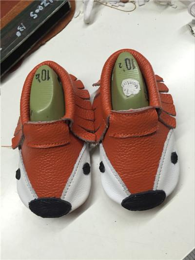 Nuevo Estilo de Cuero Genuino bebe niña niño impresiones zorro borla de Primeros Caminante Del Bebé mocasines zapatos envío de la alta calidad