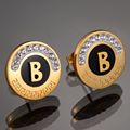 2016 New Fashion Stainless Steel letter B Earrings  Gold Plated 3D Patterned Crystal Stud Earrings For Women Gift