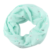 FOXMOTHER New Summer Fashionable Pink White Mint Color Shiny Foil Sliver Pineapple Circle Scarfs Ring Loop Foulard For Ladies G