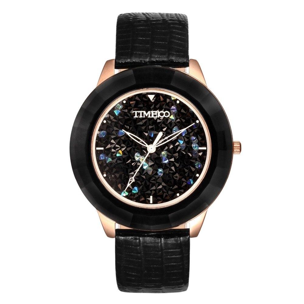 ФОТО TIME100 Women's Quartz Watch Black Pink Leather Strap Luxury Blink Dial Ladies Dress Wrist Watches For Women relogio feminino