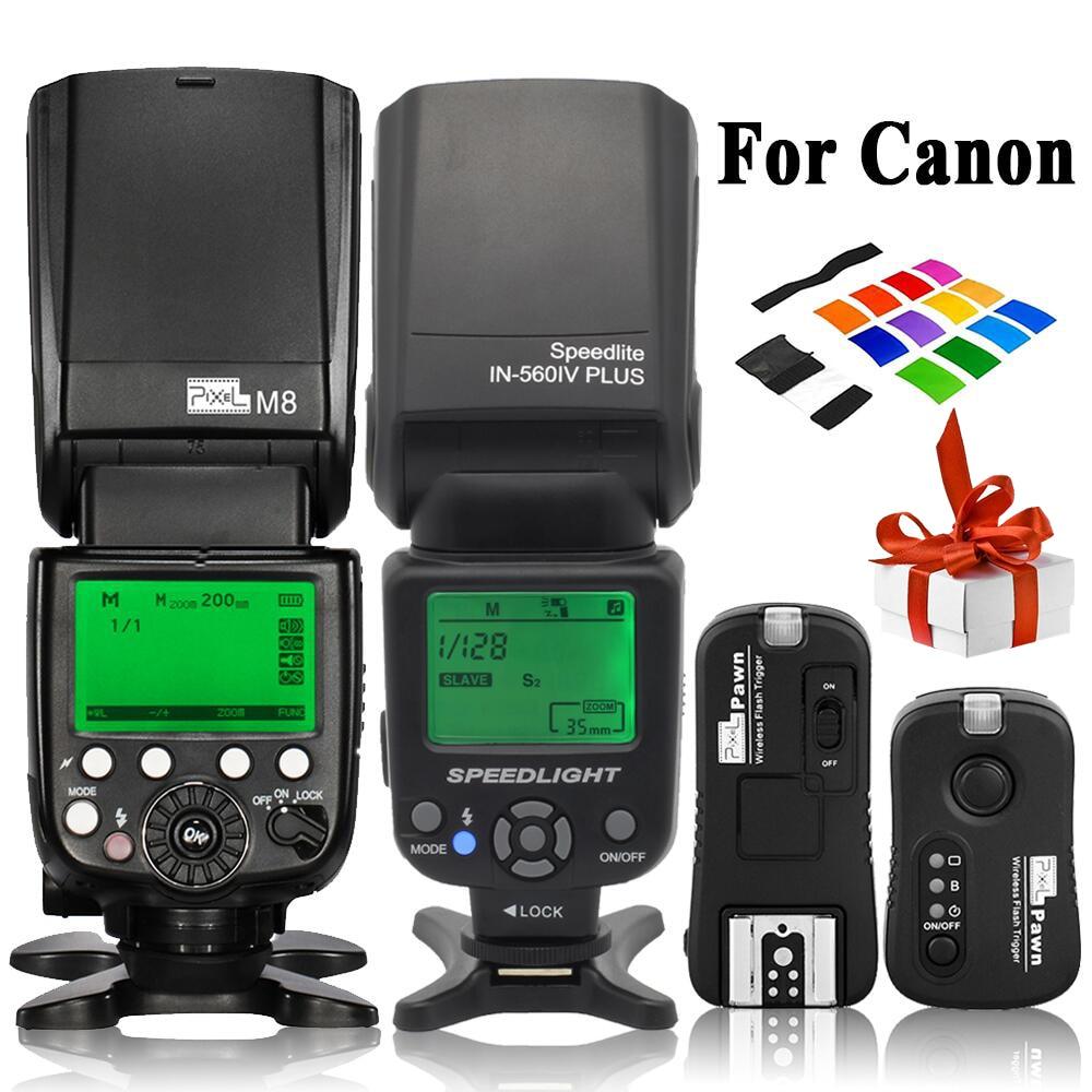 INSEESI IN-560IV IN560IV PLUS y PIXEL M8 LCD linterna Flash inalámbrico Speedlite y TF-361 disparador de Flash inalámbrico para cámara Canon
