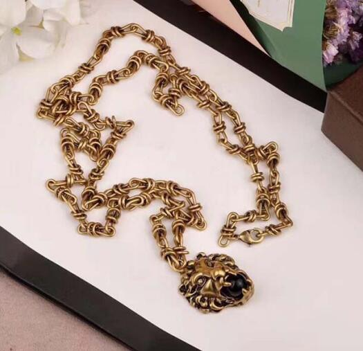 2019 New Fashion Brand Necklace Glossy Chrome Plated Couple Black Pearl Leopard Necklace Vintage jewelry For