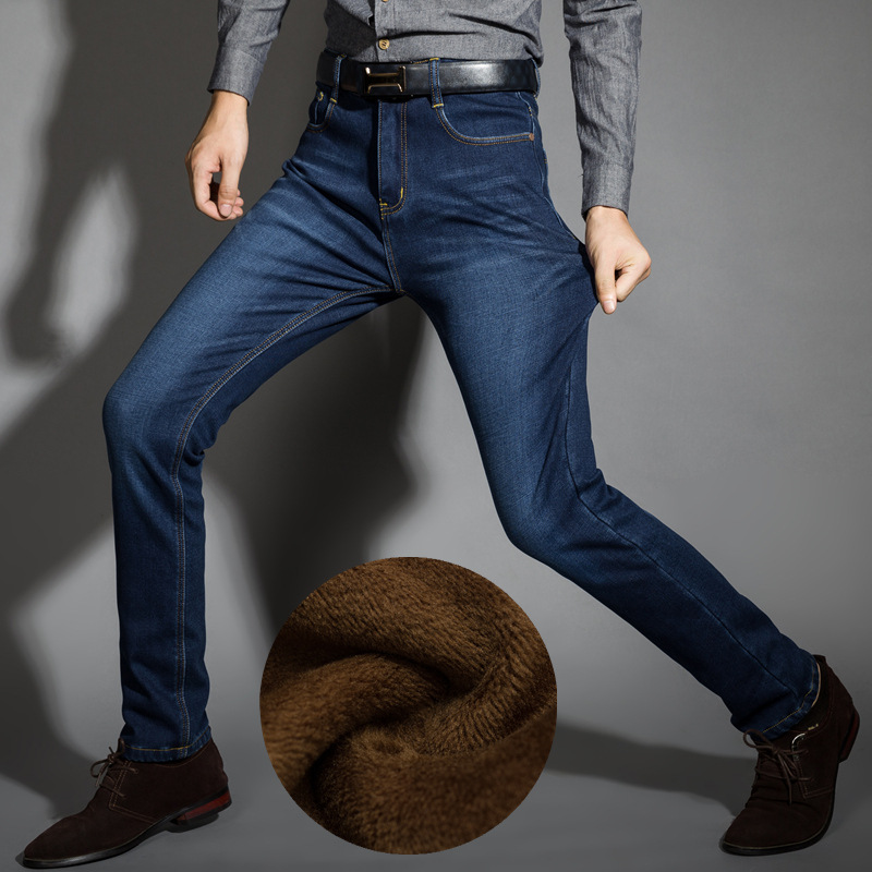 2018 nuevos hombres actividades caliente vaqueros alta calidad marca famosa Otoño Invierno Jeans caliente flocado cálido suave de los hombres pantalones vaqueros