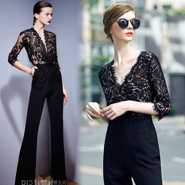 Women One Piece Jumpsuit Lace Up Bodysuit Women Fall 2015 New