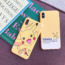 Cartoon Cute Pokemon Pika Cases Cover For Aplle iphone X XR XS Max 6 s 7 8 Plus Yellow Pikachu type digital Soft Silicone Case