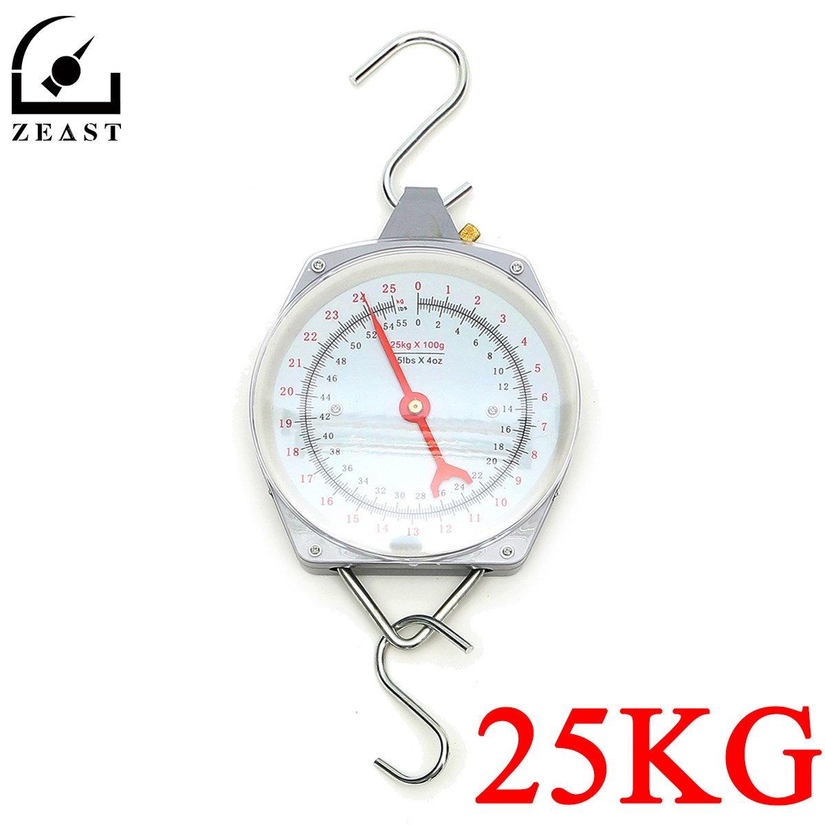 цена на 25KG/55lbs Hanging Scale With Hanging Hook Alloy Quality Heavy Weighing Mechanial Fishing 100g Increments