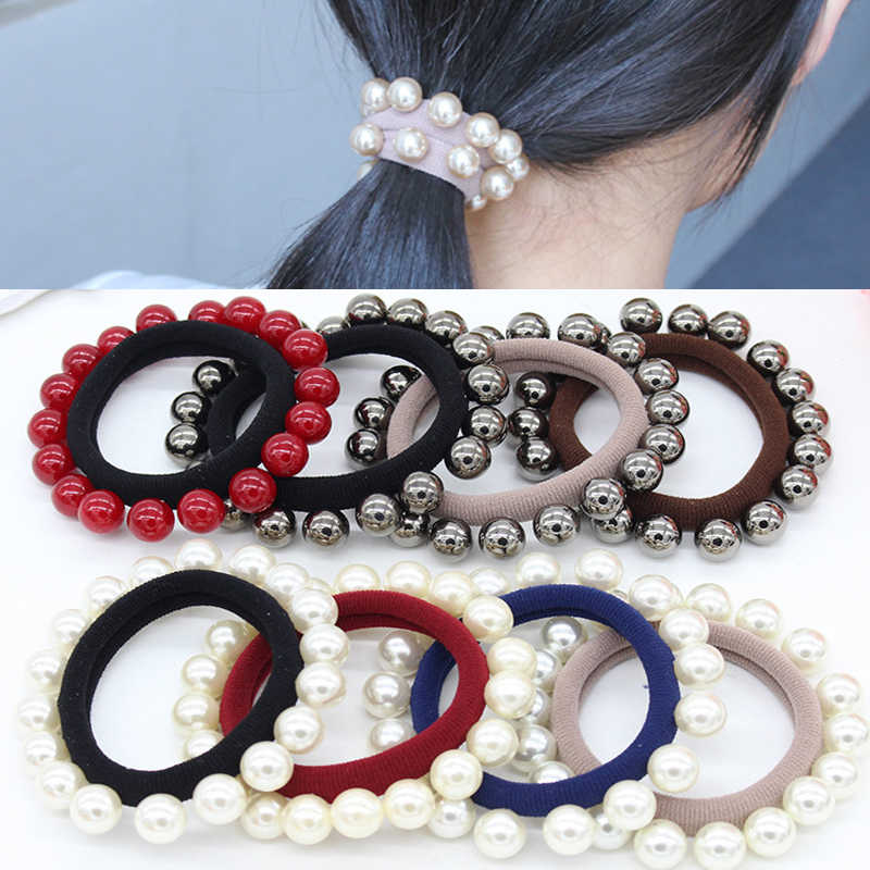 Hot Sale Women Girls Seamless Hair Rope Charming Pearl Elastic Hair Bands Hair Accessories