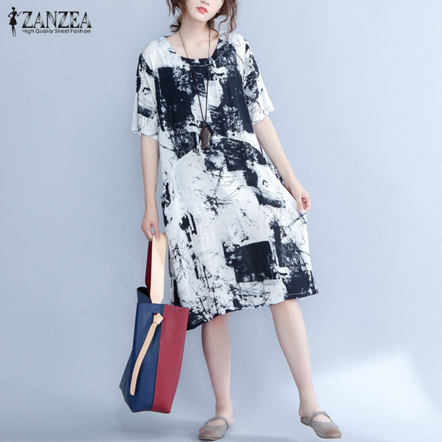 ce51e78b7bc3 2018 ZANZEA Women Summer O Neck Short Sleeve Vintage Floral Print Casual  Pockets Cotton Linen Midi Vestido Shirt Dress Plus Size