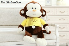large 65cm cute brown monkey plush toy yellow cloth design monkey soft doll throw pillow birthday gift s0563