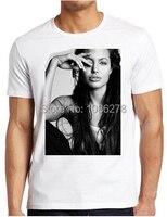 Nueva llegada mens Camisetas De Encargo Angelina Jolie imprimieron las camisetas algodón moda casual Hombre Ropa envío gratis