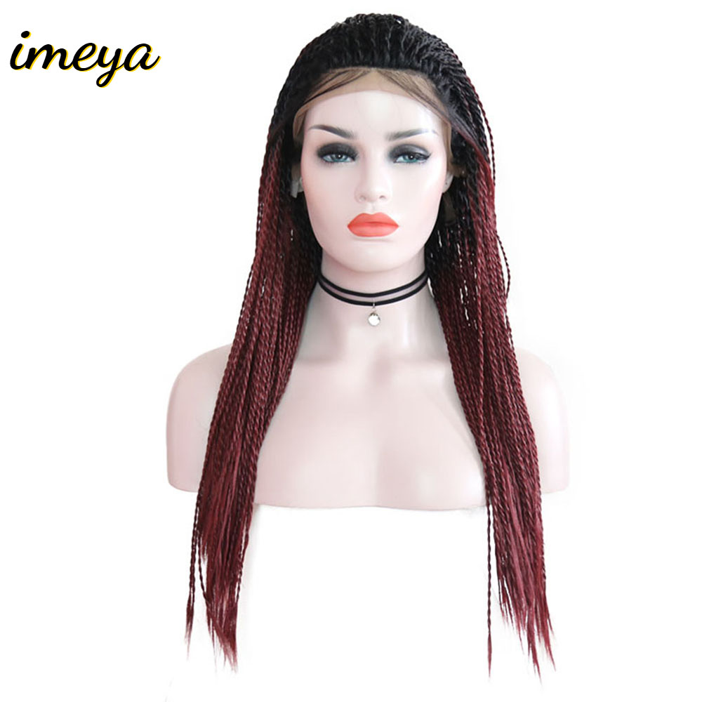 Imeya Long Synthetic Lace Front Wigs Ombre Color 2x Twist Braid Wigs High Temperature Heat Resistant