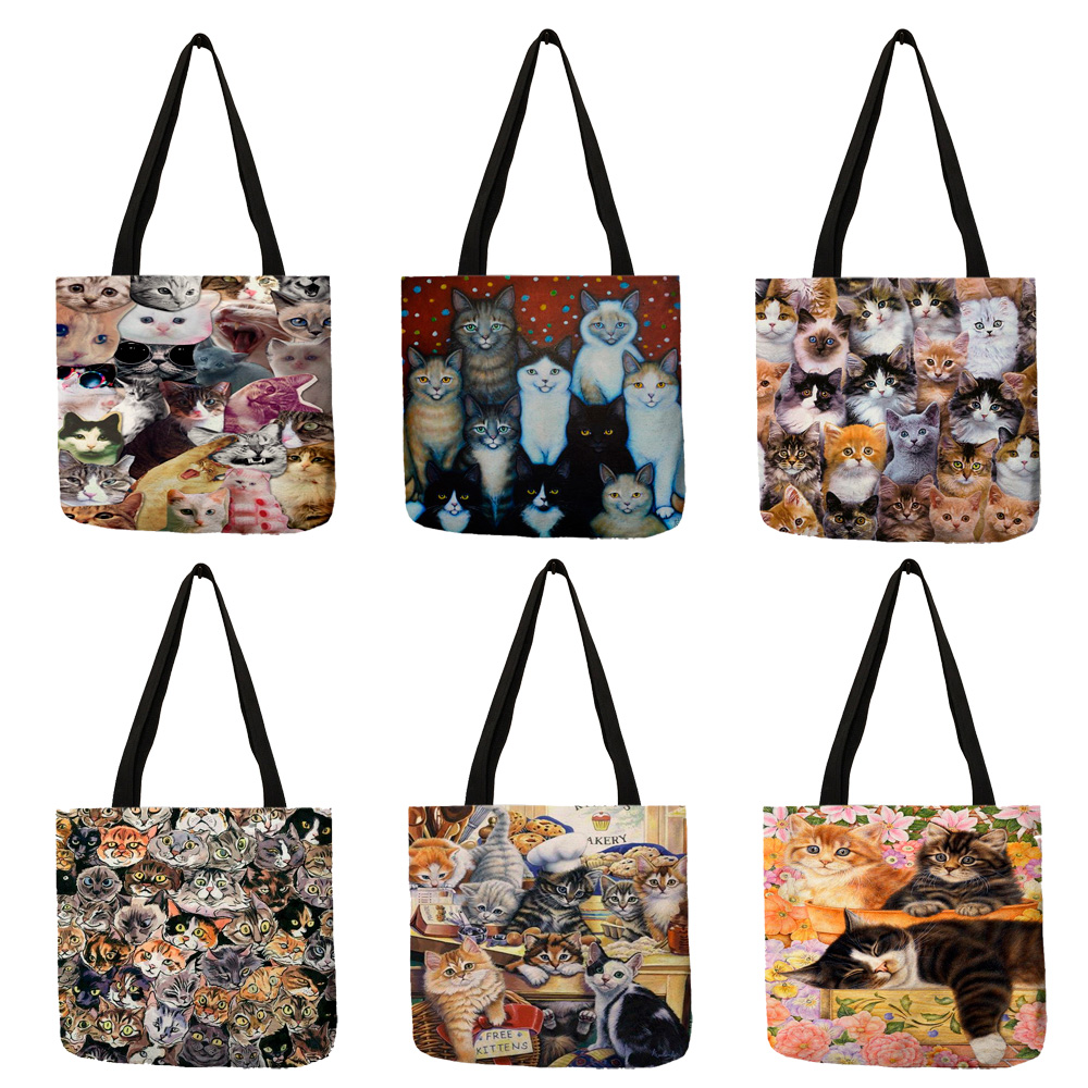 Multi-function Eco Large Casual Grocery Shopping Tote Bag Cartoon 3D Cute Cat Printing Lady Reusable Foldable Daily Hand Bag