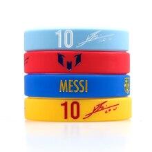 Силиконовый браслет Lionel Messi для фанатов футбола, клубный силиконовый браслет, 4 цвета, для взрослых и детей, модный фирменный браслет для подарка