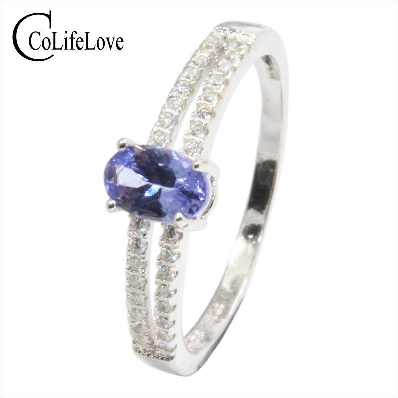 Real 0.5 ct tanzanite engagement ring for girl 4 mm * 6 mm VS grade tanzanite silver ring solid 925 silver tanzanite jewelry