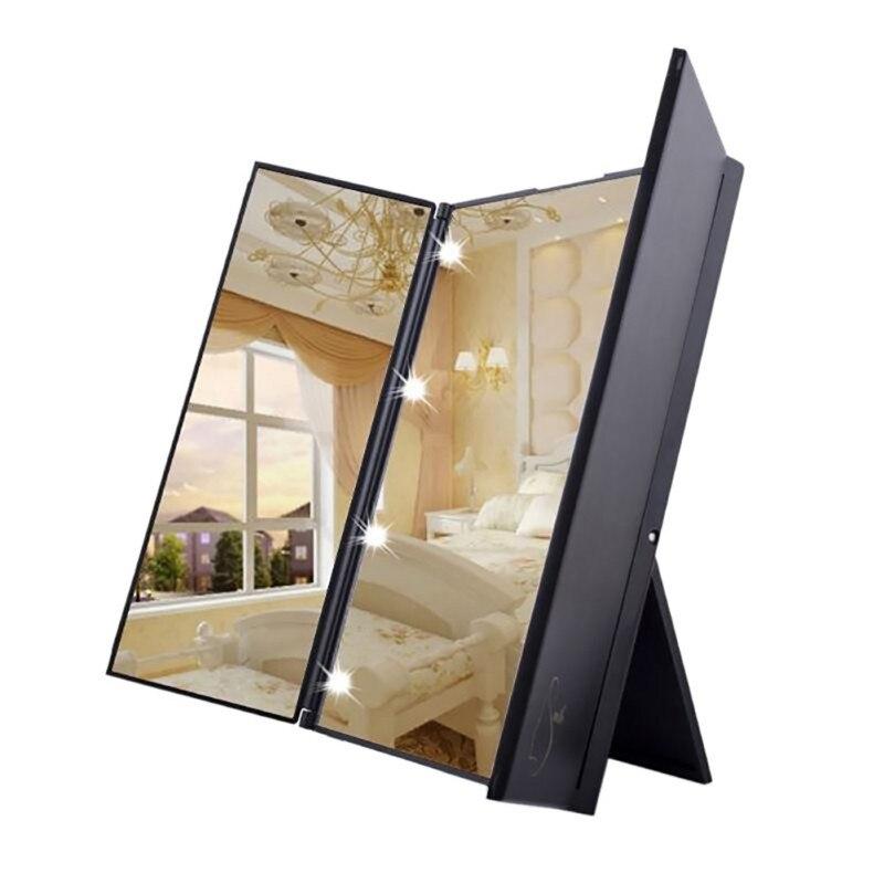 New LED 8 Light Tri-Fold Makeup Mirror Portable Travel Compact Pocket Mirrors Vanity 3 Folding Adjustable Mirror Desktop Makeup