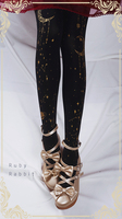 Ruby Rabbit Orignal Design Black Star And Moon Printed Lolita Pantyhose Tights Free Shipping