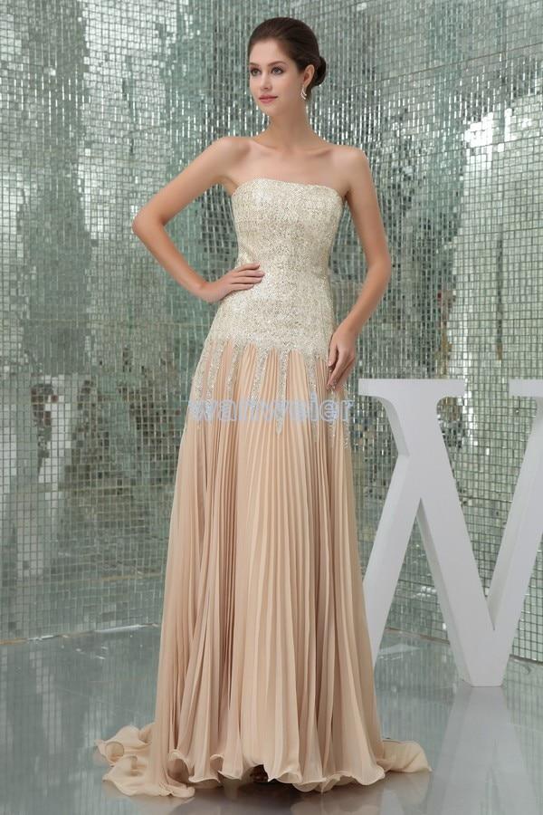 vestido de festa free shipping Formal prom dresses 2015 new design hot sale Custom chiffon sequined beach long evening dress in Evening Dresses from Weddings Events