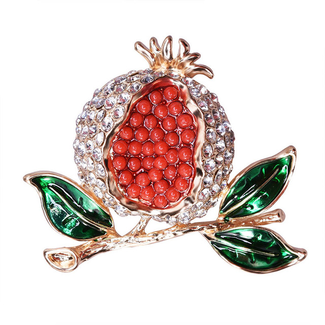 1fb7df214b0d7 US $1.95 30% OFF|Cute Fruit Pomegranate Brooch Fashion Rhinestones Brooches  Pins For Women Wedding Party Dress Jewelry Accessories-in Brooches from ...