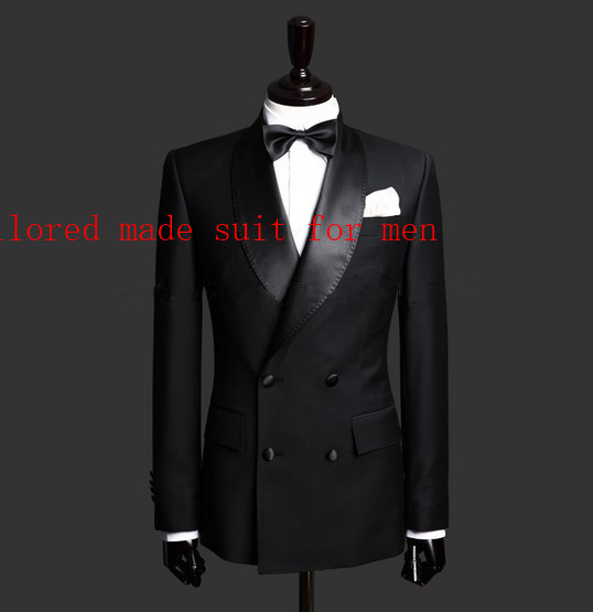 Erkek Kıyafeti'ten T. Elbise'de Sıcak Satış tek göğüslü Siyah Damat Smokin erkek Takım Elbise Şal Yaka Groomsmen Erkek Düğün Takımları Balo Suits (ceket + pantolon + kravat)'da  Grup 2