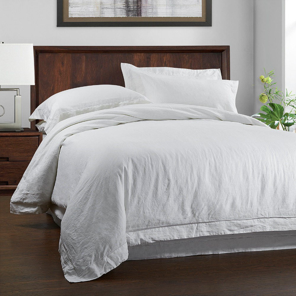 100%Linen Stone Wash Duvet cover Set with Embroidery