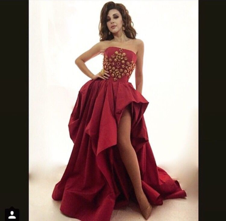 Arabian Star Myriam Fares Burgandy Strapless Sleeveless Golden Stones Ruffled Short Front Long Back Prom Mother of Bride Dresses in Mother of the Bride Dresses from Weddings Events
